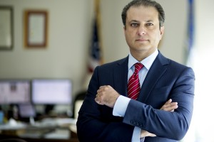 Preet Bharara, five years into his tenure as U.S. attorney for the Southern District of New York, in New York, Aug. 7, 2014. Bharara, the top federal prosecutor in Manhattan, has investigated corruption, Rikers Island violence, terrorism and insider trading; now he is taking on Gov. Andrew Cuomo. (Todd Heisler/The New York Times)